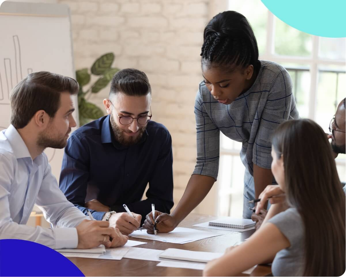 A woman providing leadership to her team