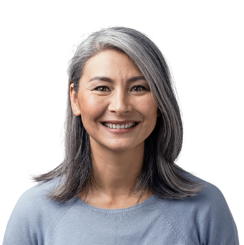 older woman smiling with gray hair