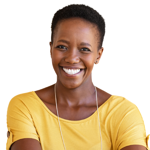 woman smiling in yellow top