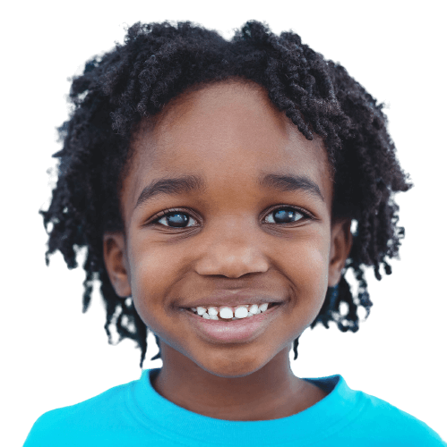 young child smiling in blue short