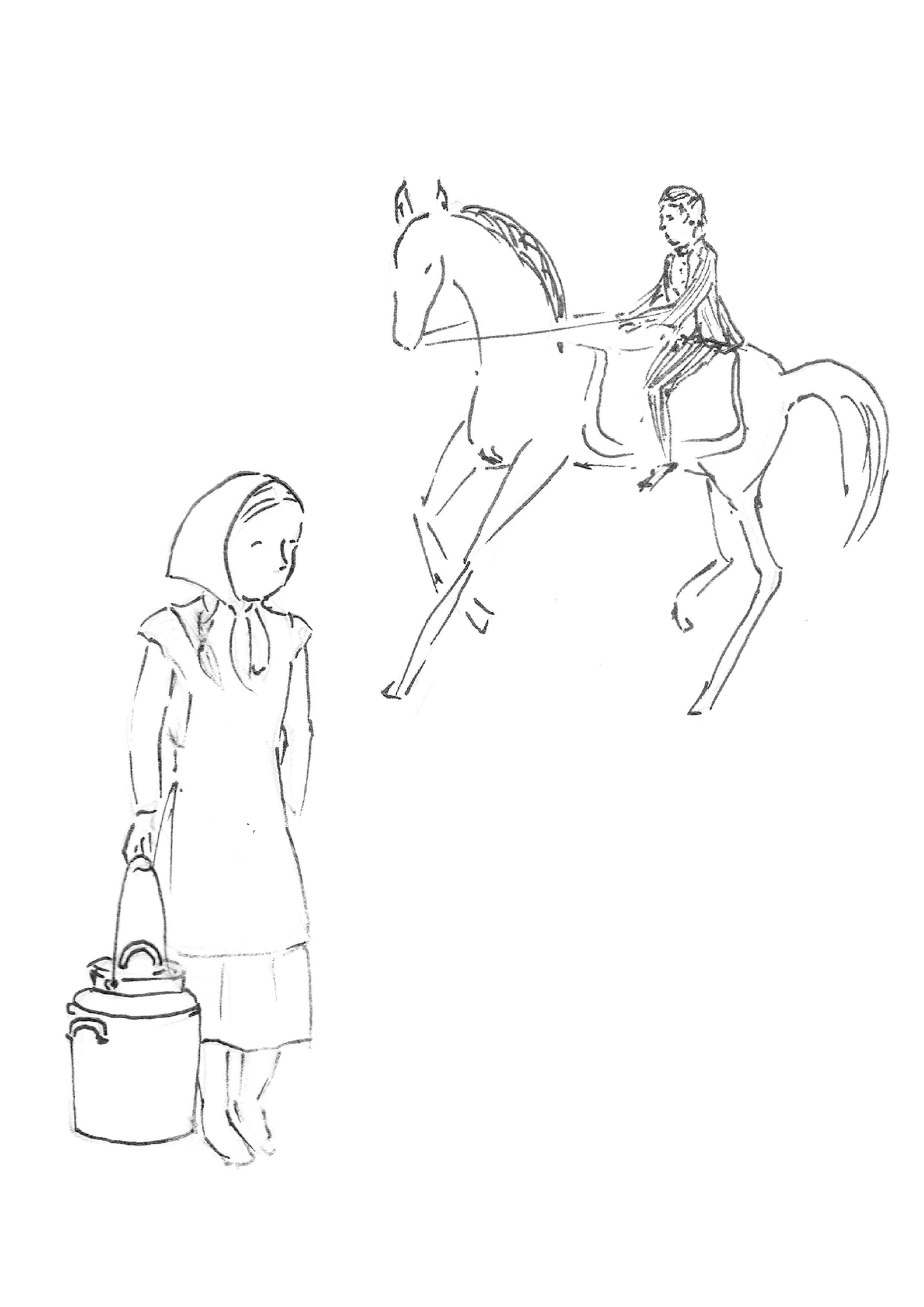 Piirroskuvassa poika ratsastaa hevosella ja tyttö kantaa maitotonkkaa.