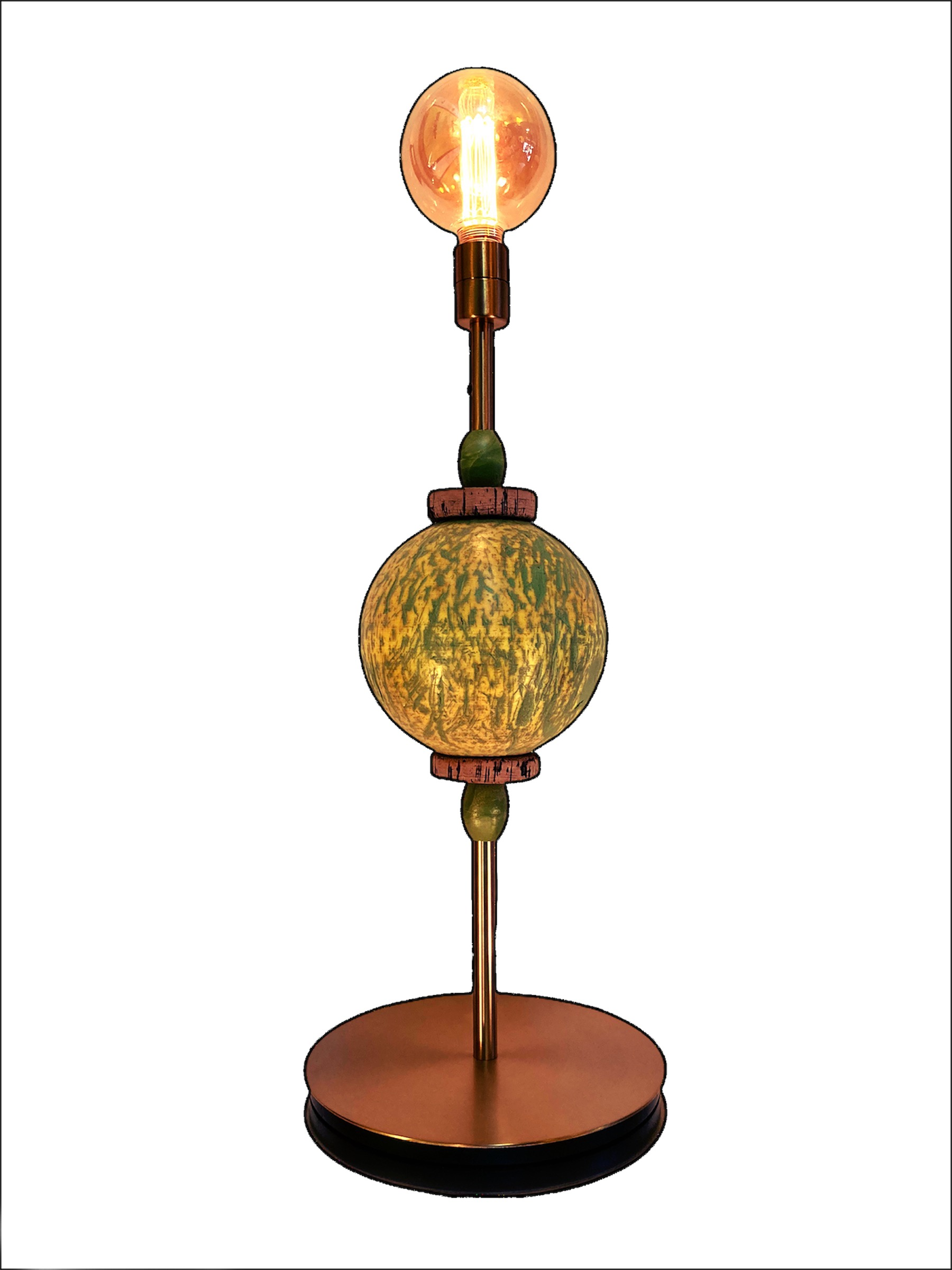 lampe a poser flotteur boule bleu pied laiton