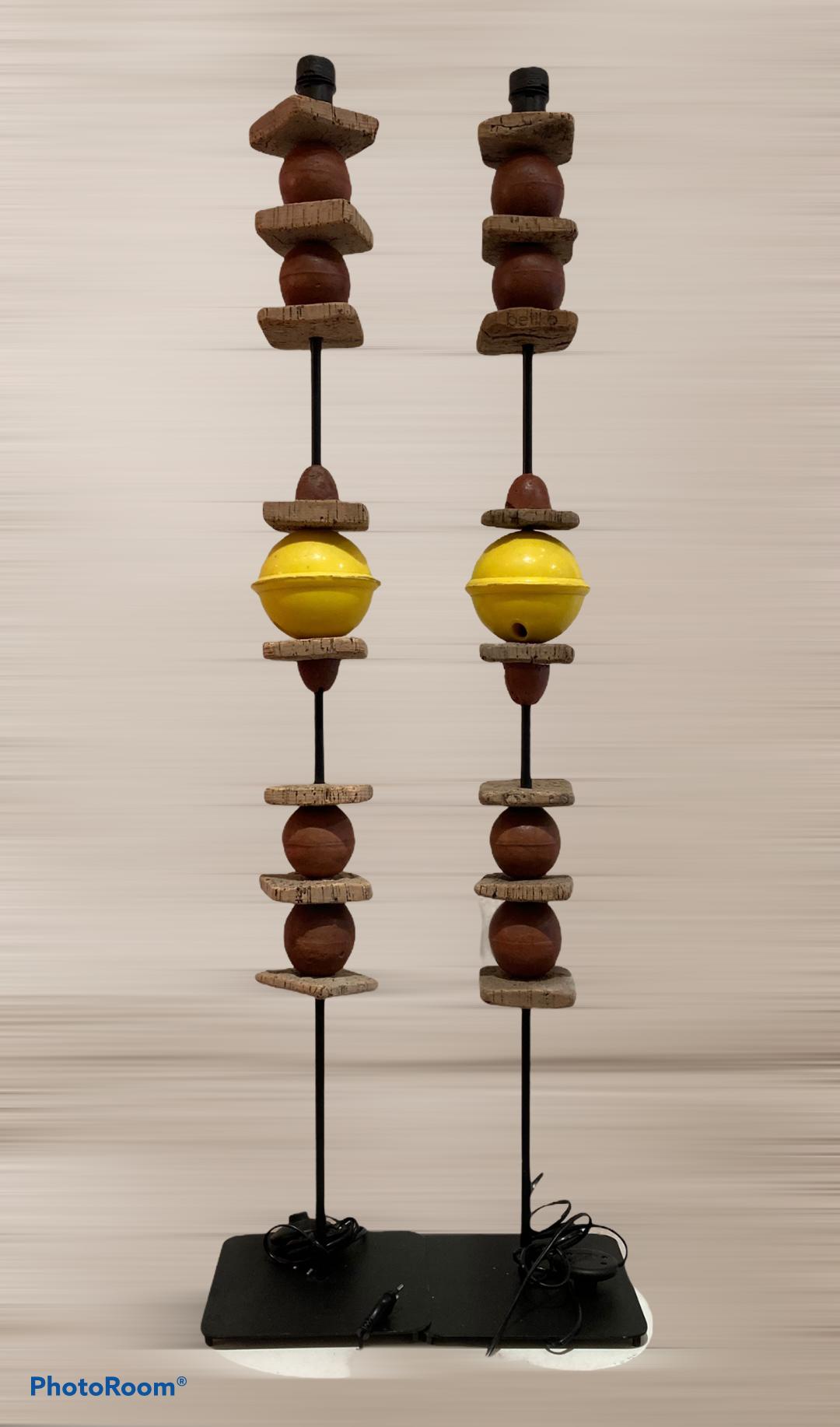 lampe lampadaire jaune paire luminaire