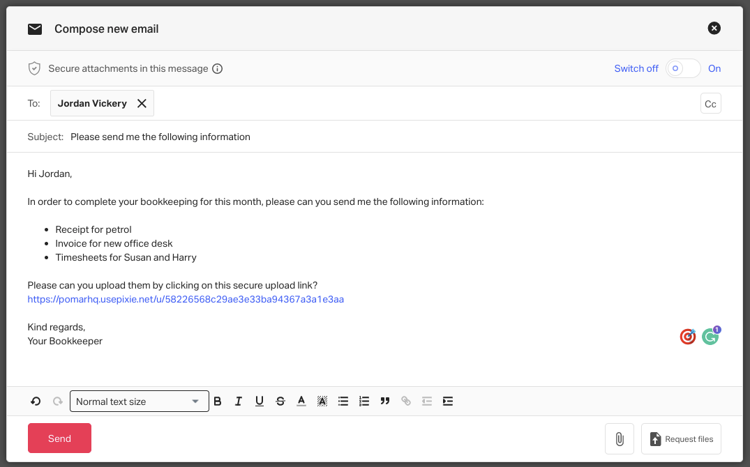 An email template with a secure upload link in Pixie