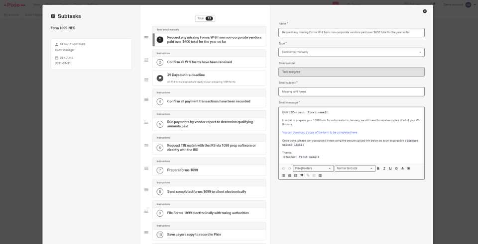 An example workflow with an email template