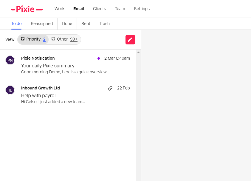 Your auto-prioritised email inbox inside Pixie