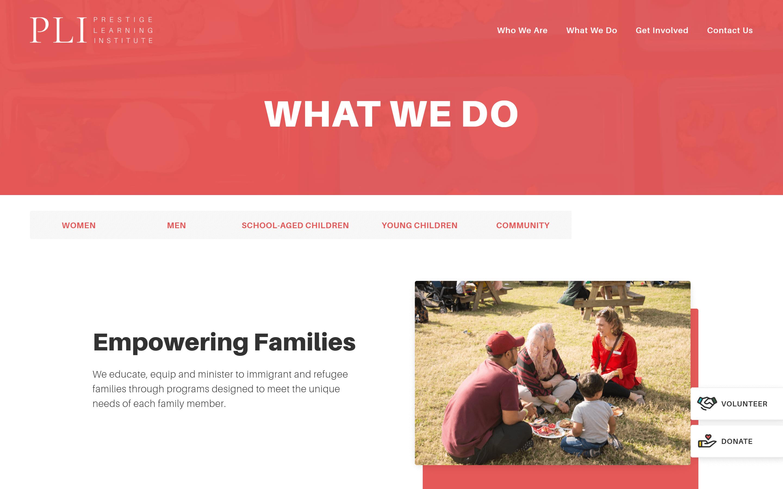 Prestige Learning Institute website screenshot