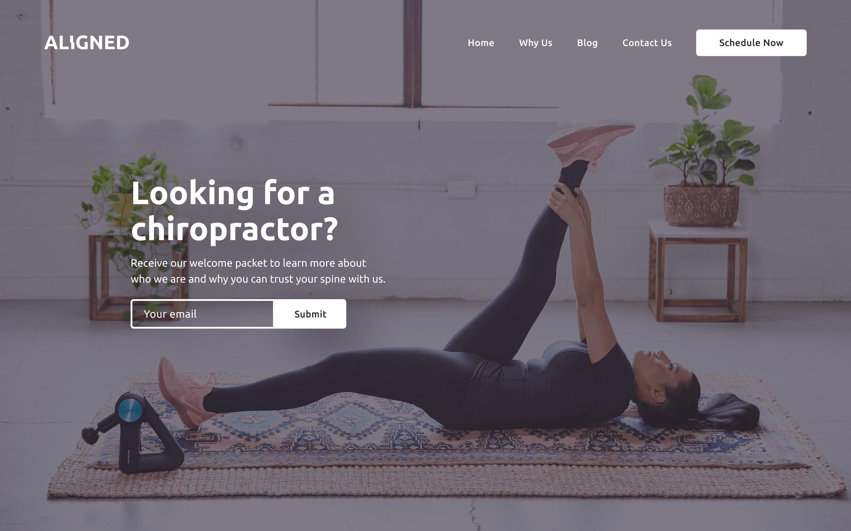 Aligned Chiropractic website hero