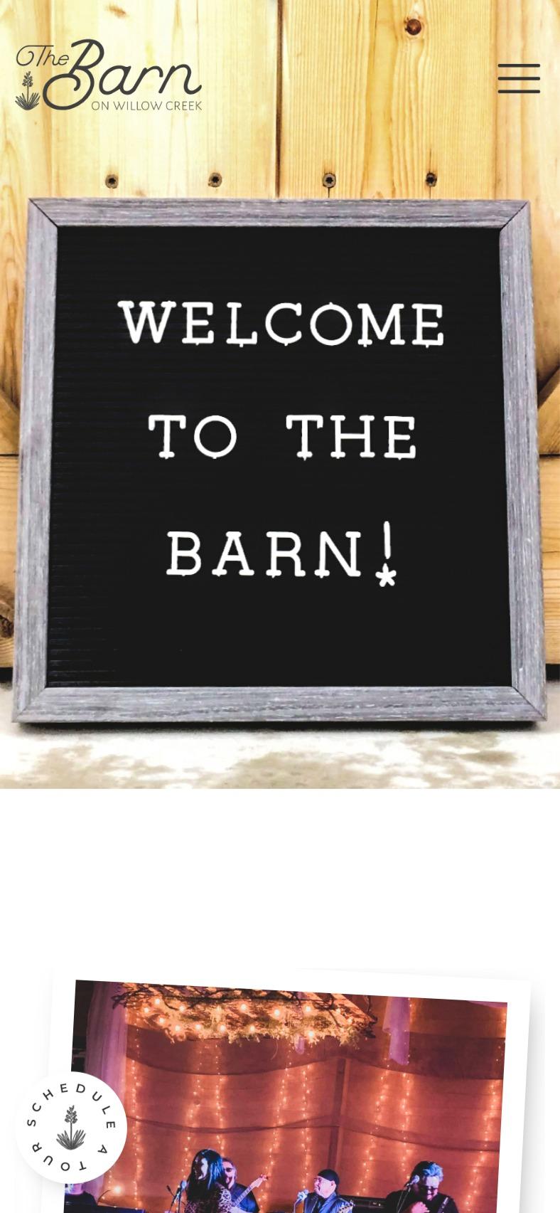 The Barn on Willow Creek mobile website hero