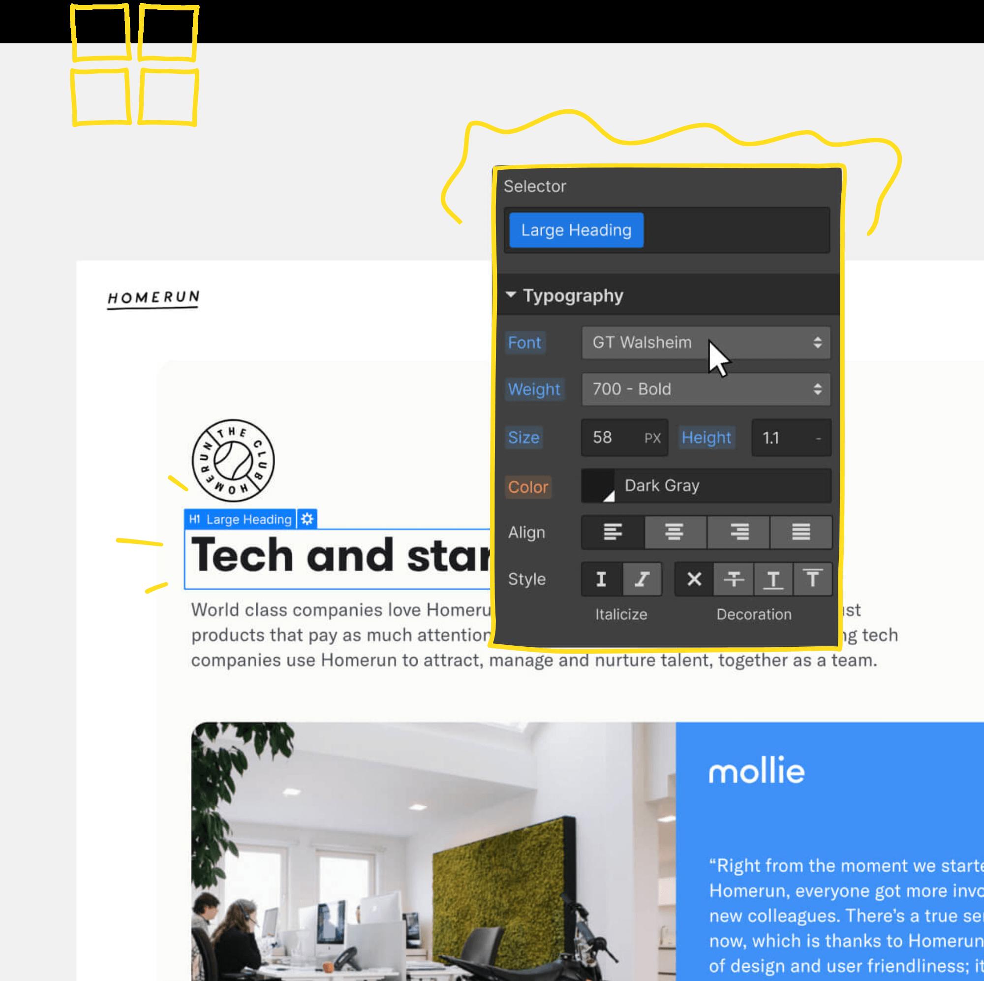 Webflow visual editing graphic