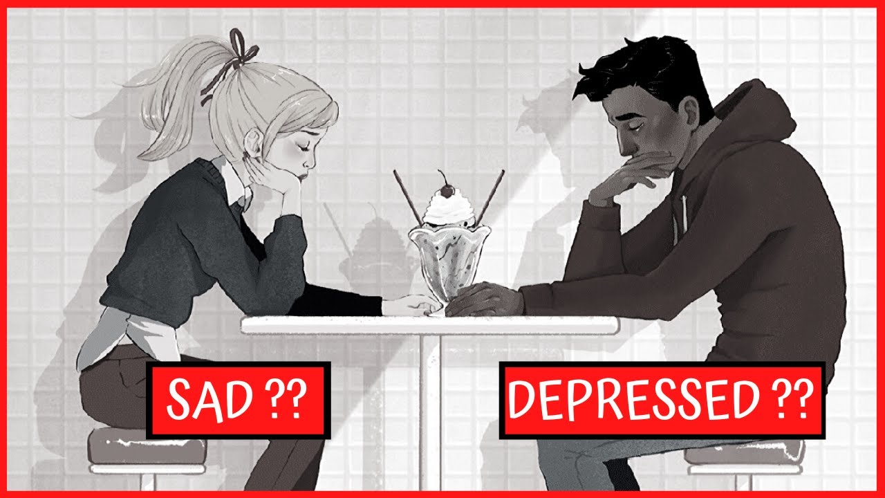 """A Youtube thumbnail of two illustrated people and the words """"Sad??"""" and """"Depressed??"""""""