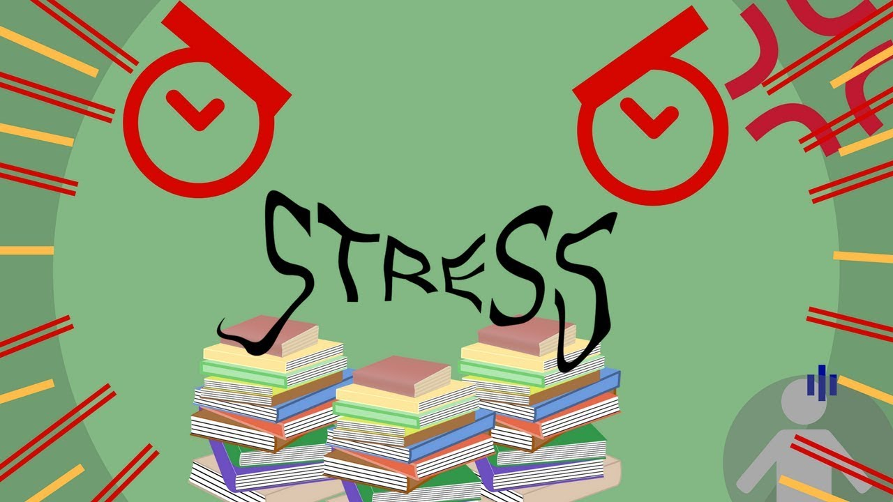 """A Youtube thumbnail with an illustration of a pile of books, an angry face and the words """"Stress"""""""