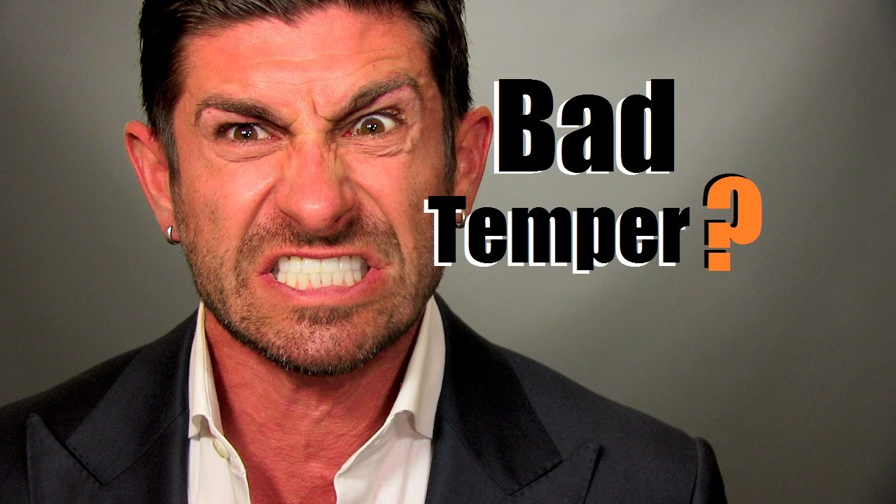 """A Youtube thumbnail of an angry person and the words """"Bad temper?"""""""