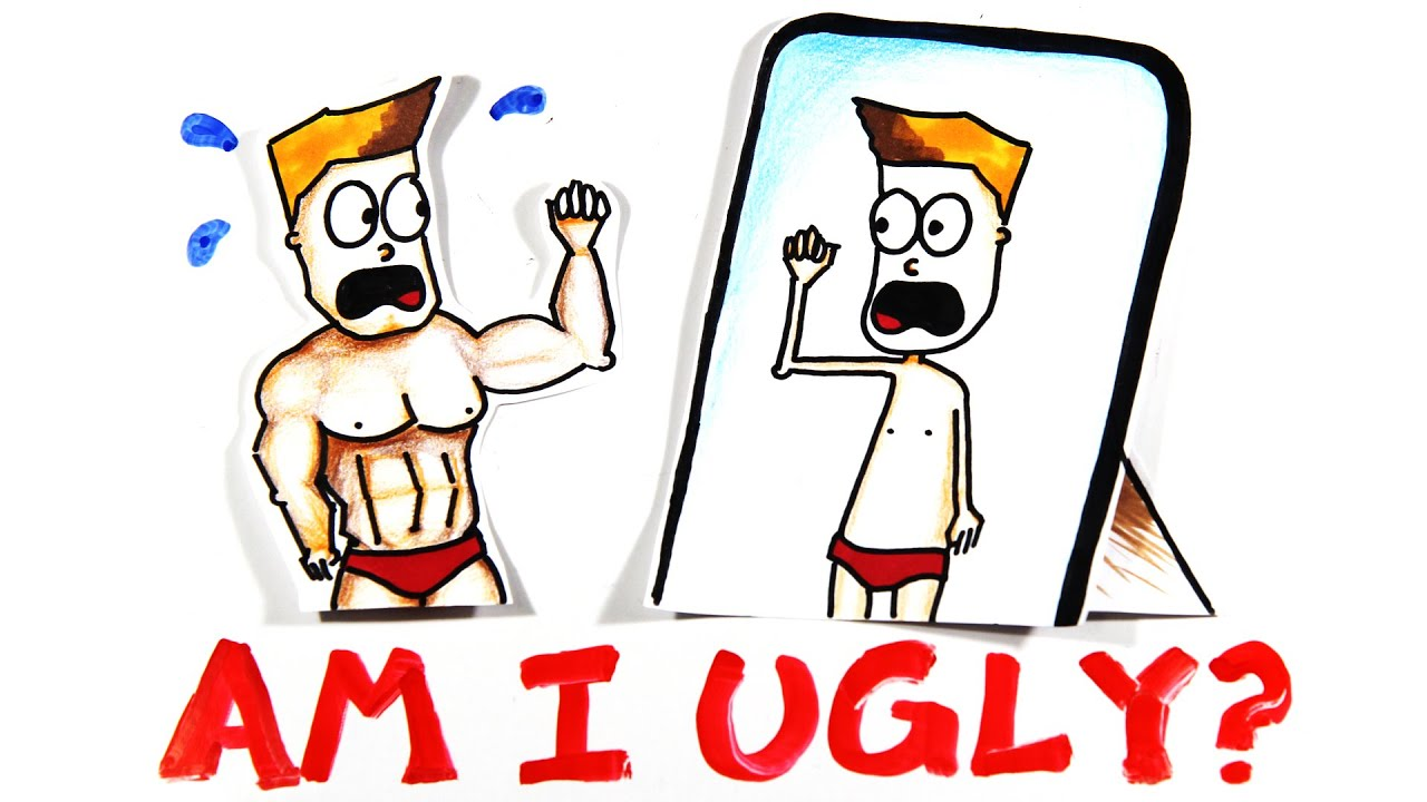 """A Youtube thumbnail of an illustrated person with body dysmorphia and the words """"Am I ugly?"""""""