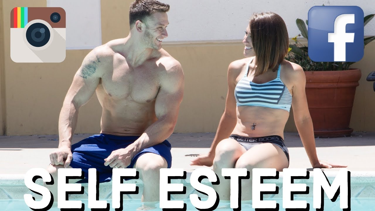 """A Youtube thumbnail of two people sitting at a pool and the words """"Self Esteem"""""""