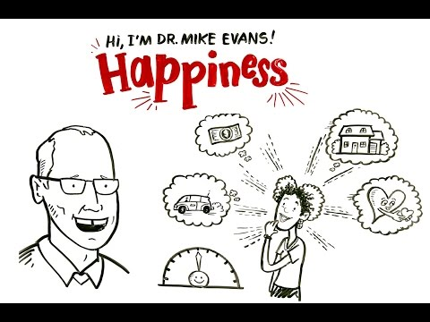 A Youtube thumbnail of two illustrated people smiling with thoughts related to happiness and the video title