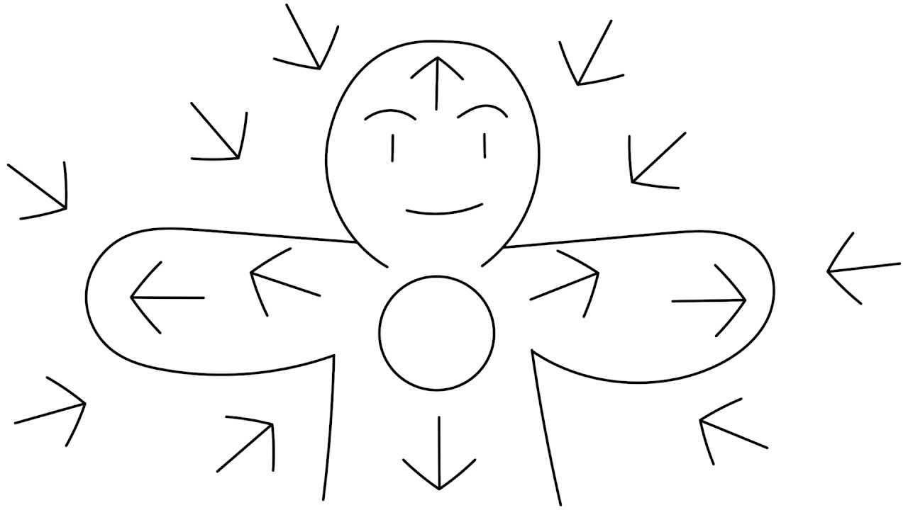 A Youtube thumbnail of an illustrated person smiling with arrows