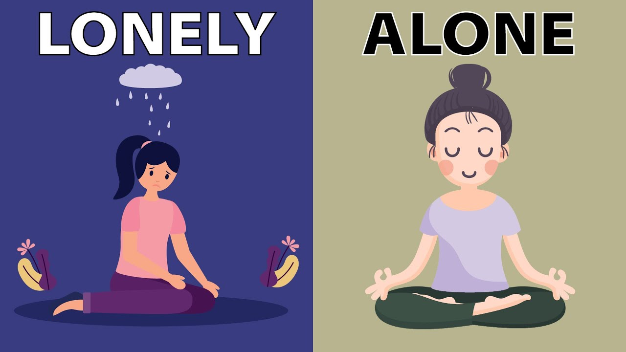 """A Youtube thumbnail of an illustration of a sad person with the words """"lonely"""" and a happy person with the words """"alone"""""""