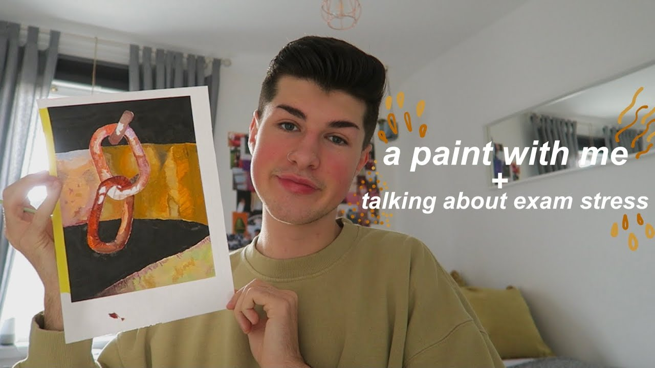 A Youtube thumbnail of a person holding a painting and the video title