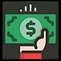 Hand holding a green dollar bill icon