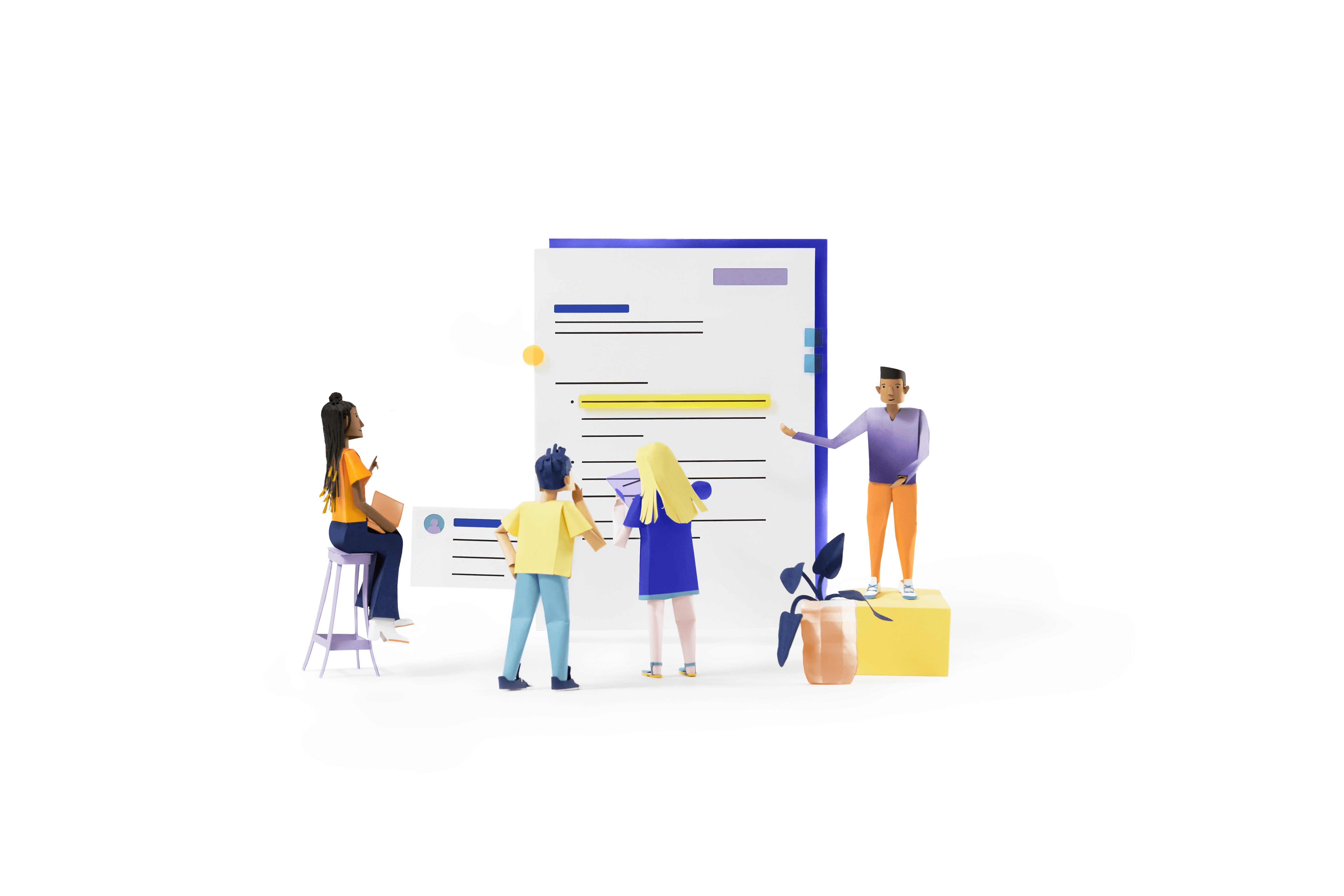 Paper illustration of 4 coworkers discussing a document