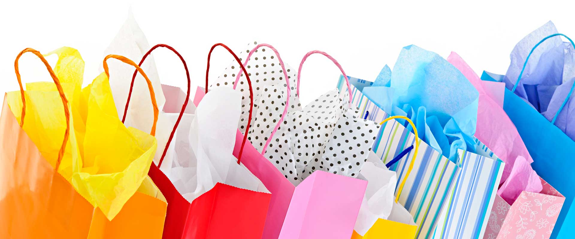 Several gift bags of different colors