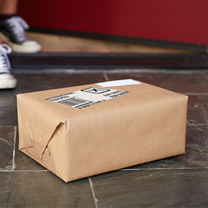 A wrapped package on the door step