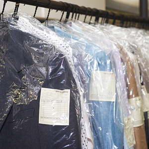 Dry cleaning hanging on a hanger