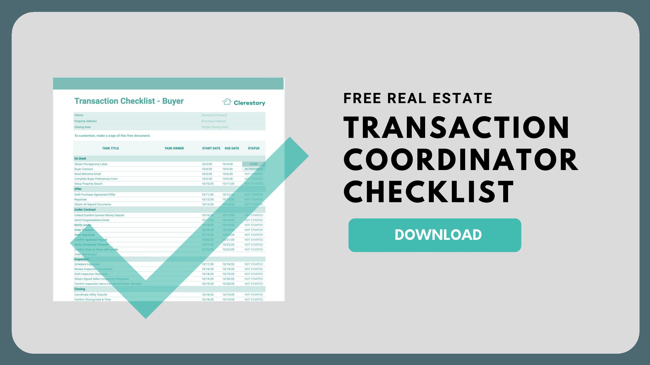 Free Real Estate Transaction Coordinator Checklist Template