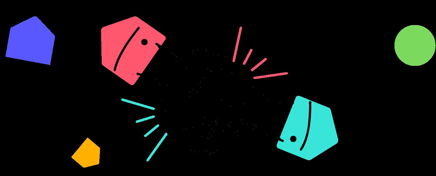 handshake illustration with shapes