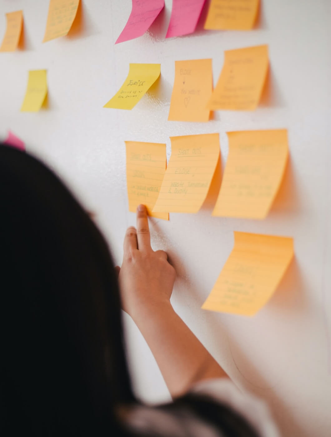Image of sticky notes on whiteboard