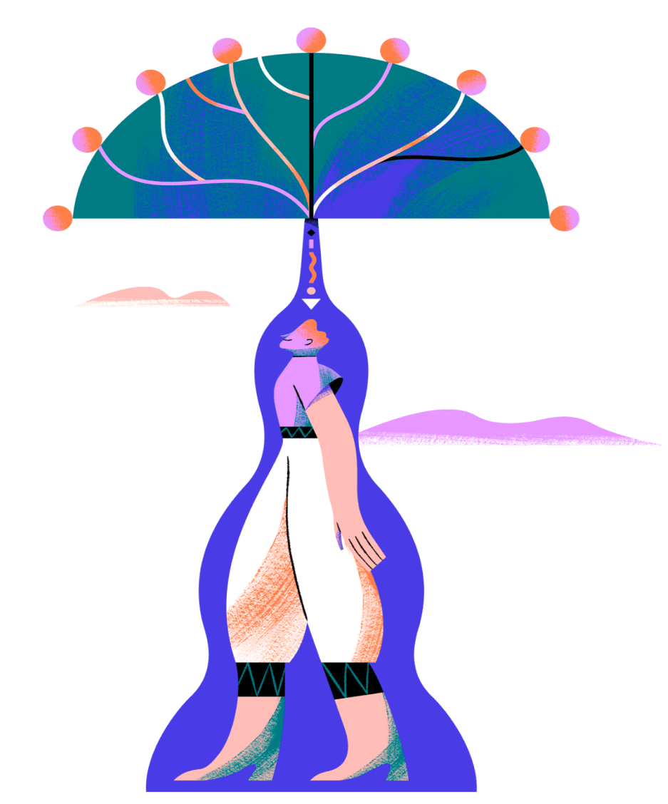 person standing with branches