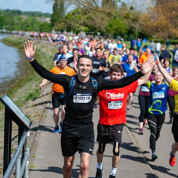 male runner, running a marathon