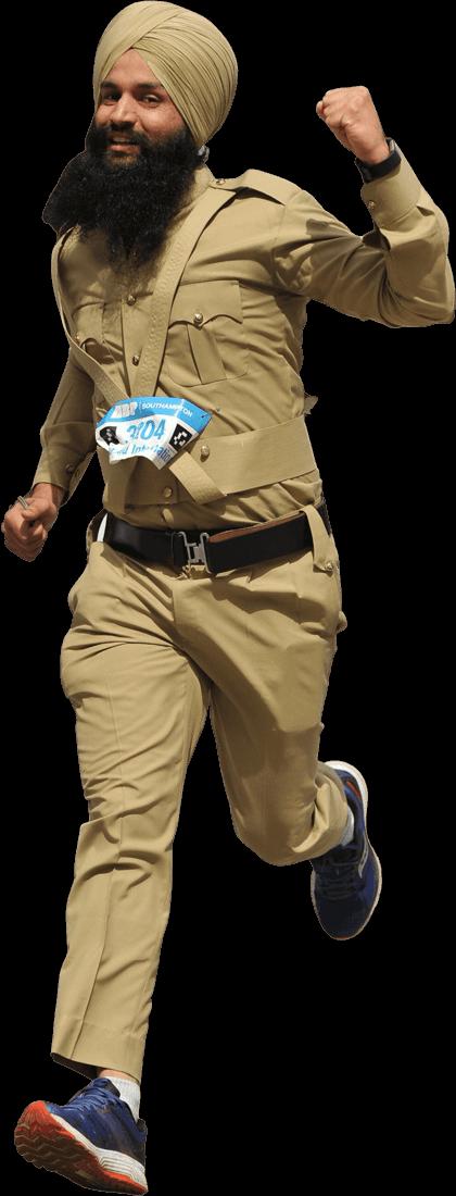 Uniformed man running