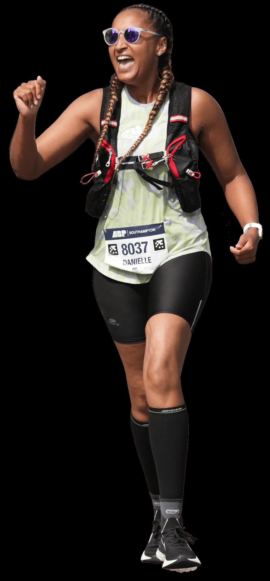 Female runner running 36.2 miles marathon