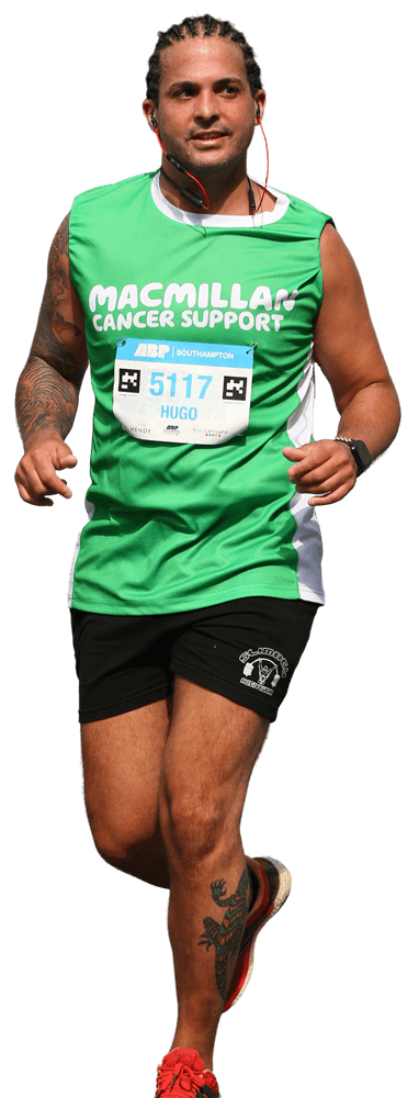 Runner running half marathon for Macmillan Cancer support charity