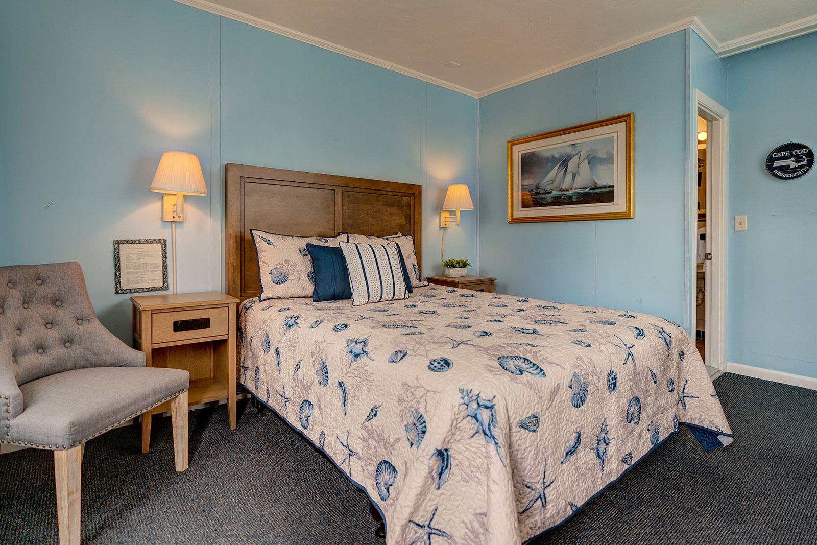 With a panoramic view overlooking our grounds and direct access to the south facing porch, the Master Suite provides warmth and brightness for a peaceful getaway.