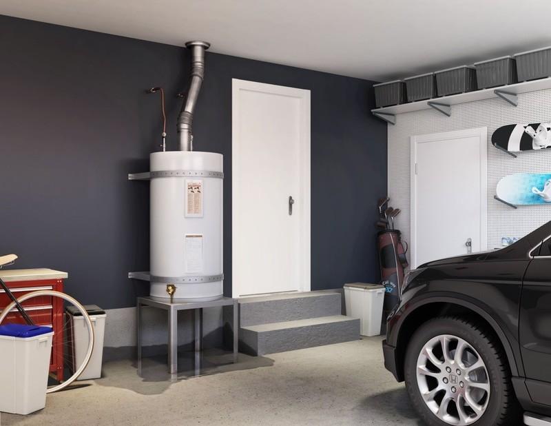 Hot water tank in garage