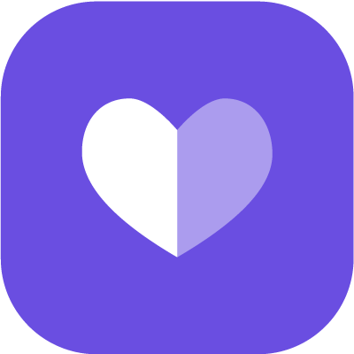 White and grey heart symbol in purple background