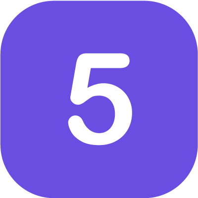 Number '5' in purple background