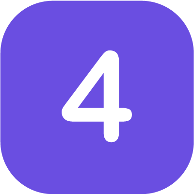 Number '4' in purple background