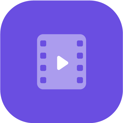 Video player symbol in purple background