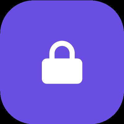 Lock symbol in purple background