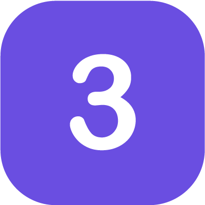 Number '3' in purple background