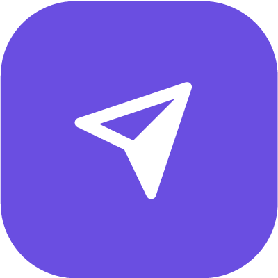 Up arrow icon in purple background