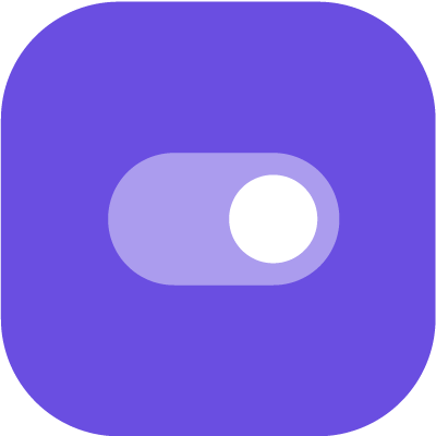 Toggle button in purple background
