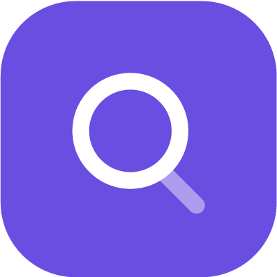 Search icon in purple background
