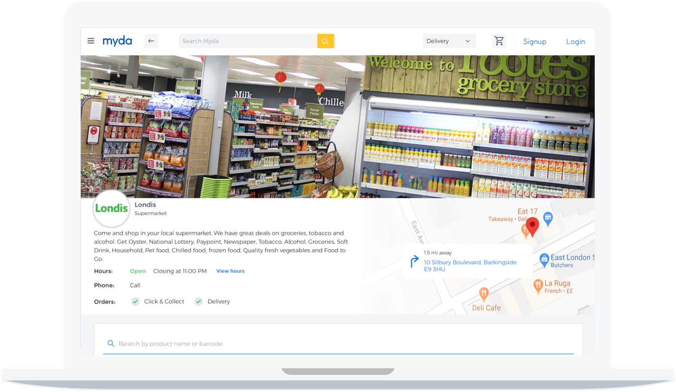 Myda's app mock up on a laptop featuring our client Londis