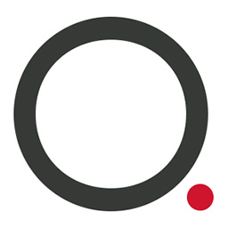 Olmsted Gallery logo symbol O with dot