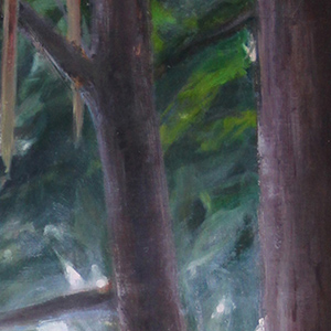 portion of Olmsted Gallery logo on top of tree painting